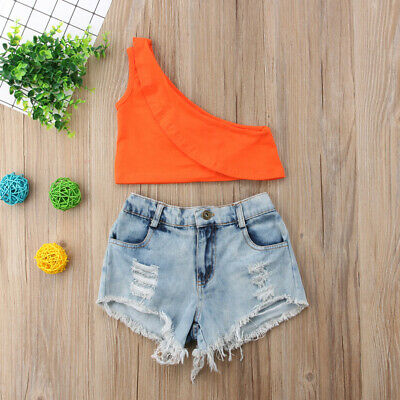 Fashion Toddler baby Girls Summer Clothes Casual Crop Tops+Shorts Outfits Set
