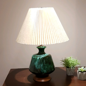 Vintage glass lamp with green marbled effect