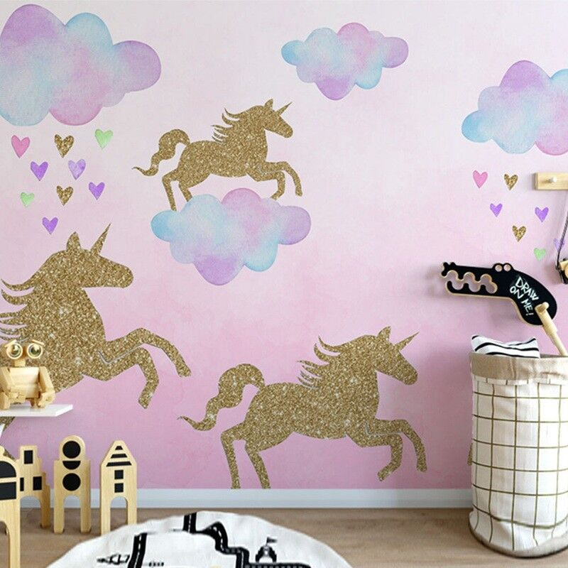 Home Decoration - Gold Unicorn Pattern Wall Stickers Living Room Bedroom Children's Room Painting