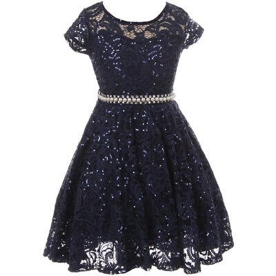Tea Girl Dresses (Navy Blue Cap Sleeve Illusion Neckline Glitter Tea Length Flower Girl Dresses)