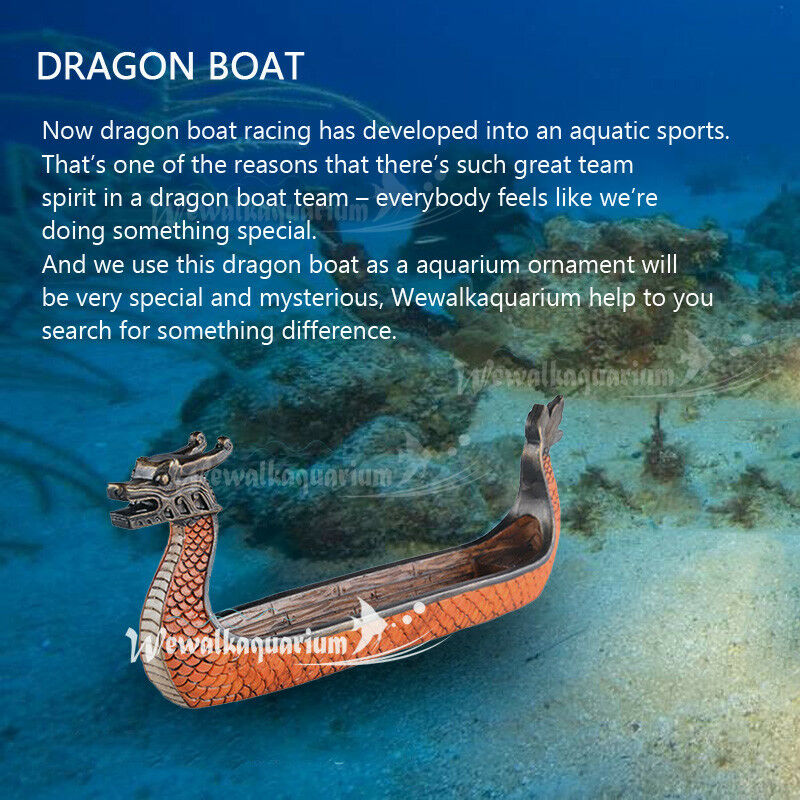 Details About Fish Tank Ornaments Decor Resin Aquarium Decorations Dragon Boat Aquascaping