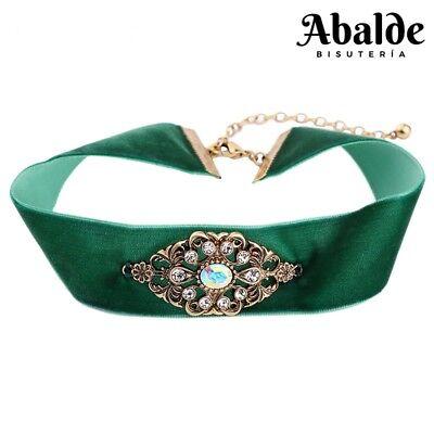 Collar Colgante De Terciopelo Joya Mujer Vintage Verde Regalo Día de la...