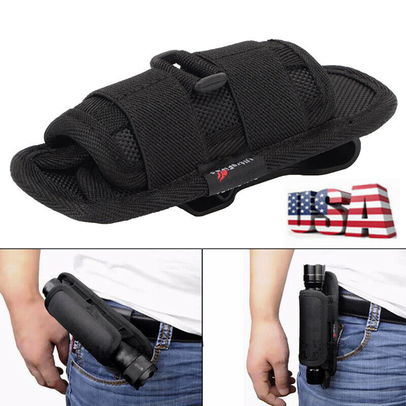 Nylon Flashlight Pouch Holster Belt Carry Case Holder With 3