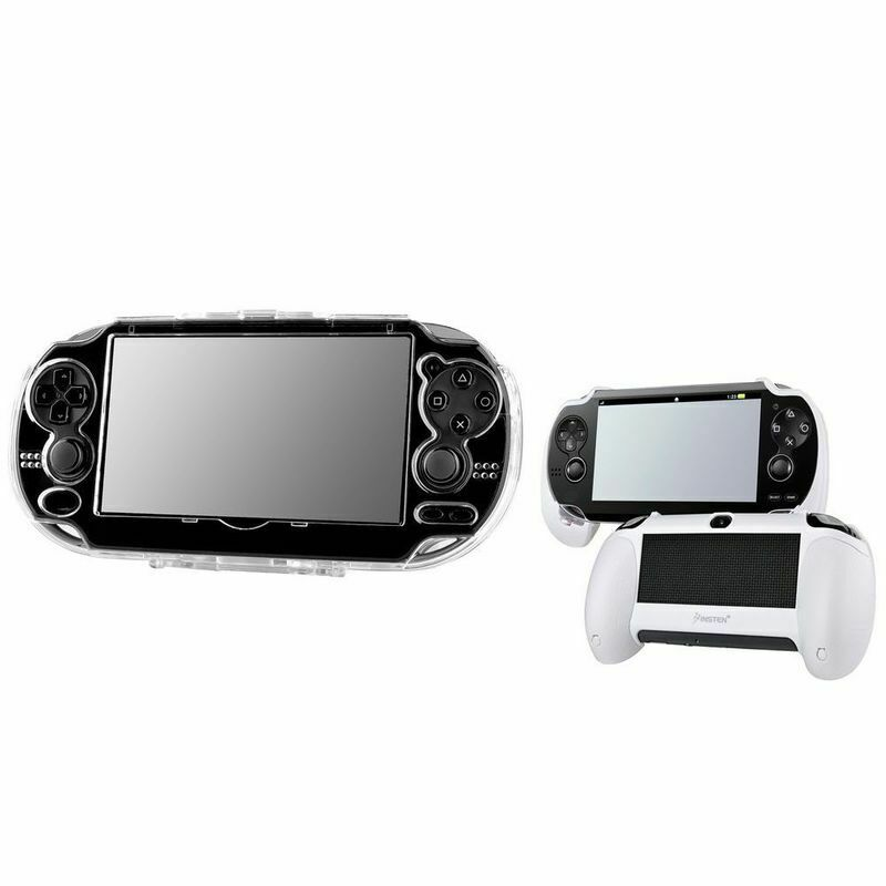 Snap-On Crystal Hard Case Cover+White Hand Grip For Sony Playstation PS Vita New
