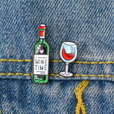 Mini Cute Wine Bottle Glass Couple Lovers Pins Brooches Enamel Badge Collar](Mini Wine Bottle)