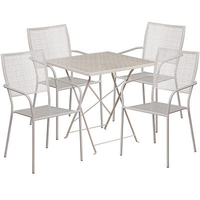 28square Light Gray Indoor-outdoor Folding Patio Resturant Table Set W4 Chair