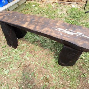 Cedar Log Benches With Burnt wood Finish