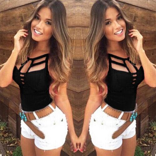 Sexy Frauen Sommer V-Ausschnitt Weste Top ärmellose Bluse Tank Tops T-Shirt Casu