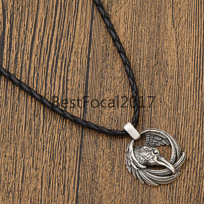 Viking Ravens Crow Pendant Necklace Norse Nordic Retro Jewelry Vintage Gift