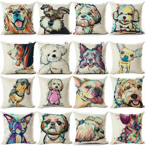 """18/"""" Cute Pet Dog Pillow Cover Throw Waist Sofa Cushion Cover Home Car Bed Decor"""