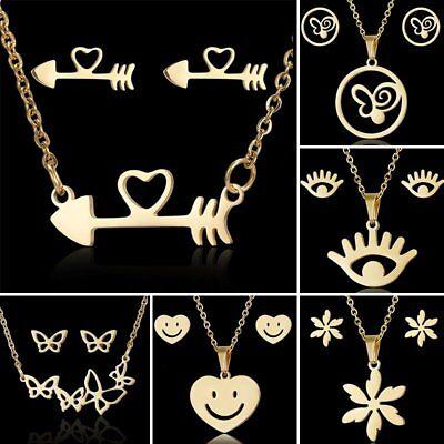 (Stainless Steel Jewelry Set Butterfly Heart Pendant Necklace Ear Stud Earrings)