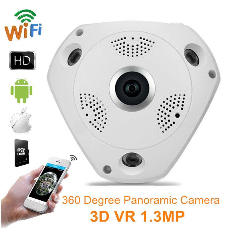 TELECAMERA WIFI VIDEOSORVEGLIANZA + SD 8 GB VR CAM PANORAMICA 3D 1.3MPX HD