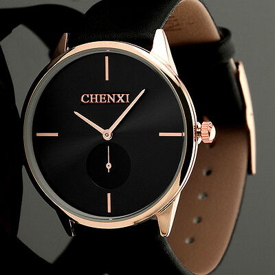 Fashion Men's Luxury Stainless Steel Sport Quartz Band Wrist Watch Analog Black