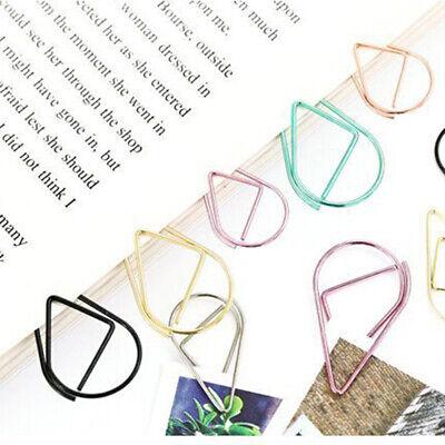 30 Pieces Metal Drop Shape Paper Clips Kawaii Cute Bookmark Clip Stationeryvvdc