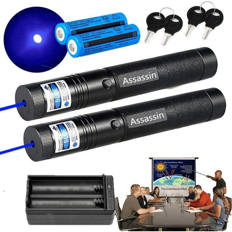 2Pack 900Miles 1mw Blue Purple Laser Pointer Pen 405nm Visible Beam+Batt+Charger