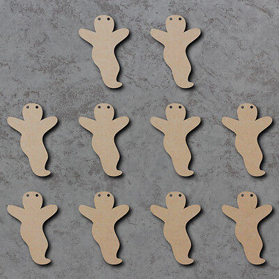 Ghost Bunting x10 - Halloween Wooden Craft Bunting Blanks and Signs - Halloween Ghost Bunting