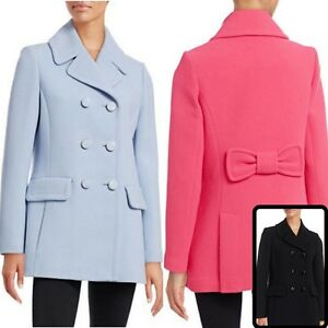NWT-Kate-Spade-New-York-Women-039-s-Bow-Back-Wool-Blend-Classic-Peacoat-Jacket
