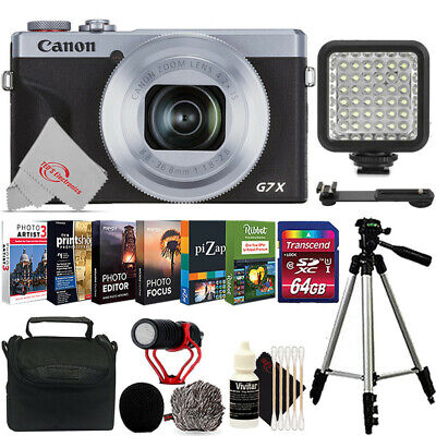 Canon PowerShot G7 X Mark III Silver Best Vlogging Point and Shoot Camera (Best Canon Point And Shoot)