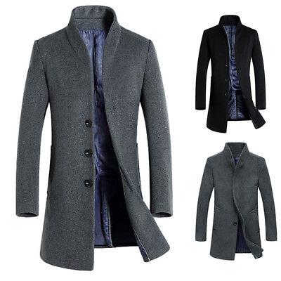 UOMINI caldo cappotto di Lana Parka Outerwear LUNGO MAGRE Giacca invernale moda