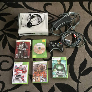 XBox 360 console, cords, headset, controller and games