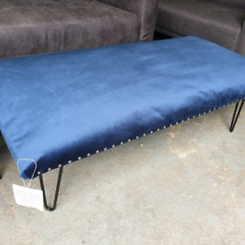 NEW Large Royal Blue Velvet Footstool Coffee Table Bench Seating DELIV