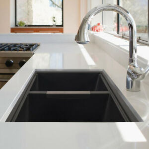 GRANITE  KITCHEN SINK TWIN BOWLS - BLACK