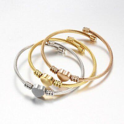 Fashion Stainless Steel Bracelet Women Twisted Heart Charm Open Bangle - Crystal Open Heart Charm