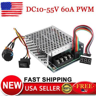Dc 10-55v Max 60a Pwm Motor Speed Controller Cw Ccw Reversible 12v 24v 36v Us