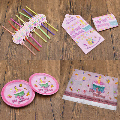My 1st Birthday Party Decorations Girl Party Supplies Tableware Set Napkins/Cups