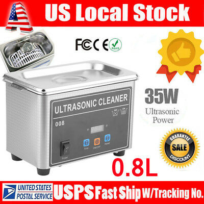 0.8l Digital Ultrasonic Cleaner Cleaning Bath Jewelry Eyeglasses Dental Part Zb
