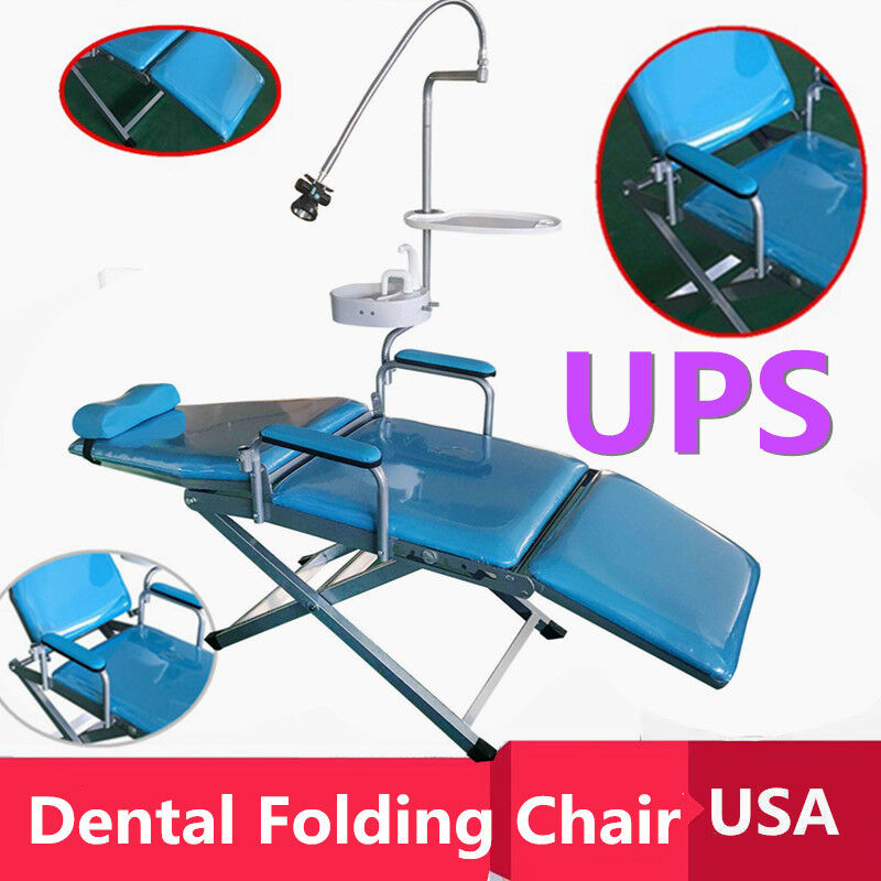 Mobile Dental Portable Folding Chair w/ LED Light+Tray+Waste Basin+Water Supply