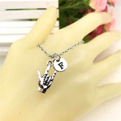 ASL I love You charm Initial Letter Necklace stamped monogram chain Pendant - I Love You Letter