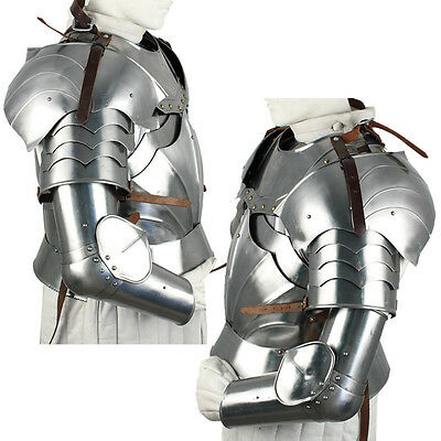 Renaissance Crusader Complete Medieval Knight's Arms 18G Polished Armor Set (Arms Armor Medieval Knight)
