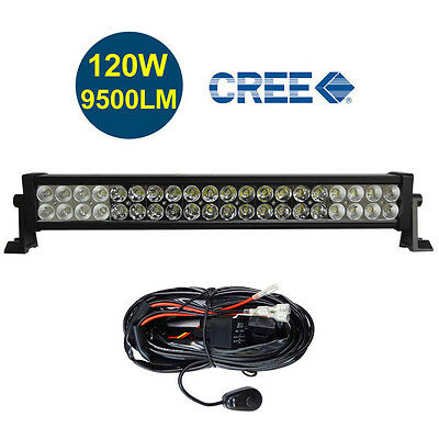 22 24 inch 6000K Off Road 120W CREE LED Fog Lamp Work Light Bar For Jeep w/Relay