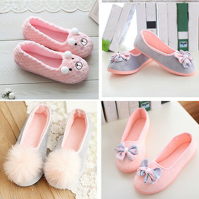 Women Home Slippers Spliced Bow Warm Pregnant Women Casual Flat Shoes Yoga Shoes