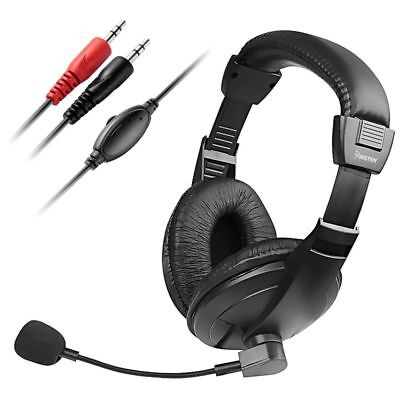Voip Stereo Microphone Mic Headset - Black Handsfree Stereo Headset With Microphone For PC Computer VOIP SKYPE