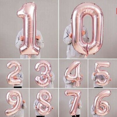 Giant Foil Number Rose Gold Helium Large Baloon Birthday Party Wedding Decor YU (Pink Baloons)