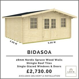 Garden Summerhouse/Log Cabin 5.0m W x 4.0m D (16ft x 13ft) NO PLANNING REQUIRED