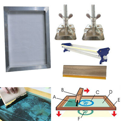 Screen Printing Kit Bundle Aluminum Frame Hinge Clamp Emulsion Coater Squeegee ](Screen Print Kit)