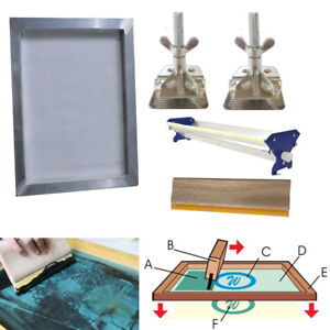Screen Printing Kit Bundle Aluminum Frame Hinge Clamp Emulsion Coater Squeegee