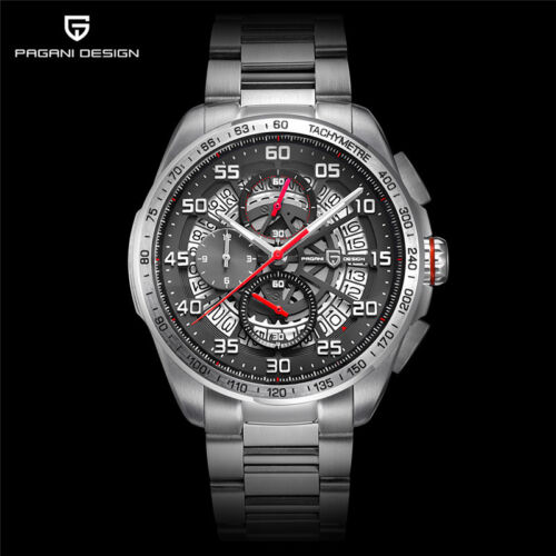 Luxury PAGANI DESIGN Quartz Mens Date 316L Stainless Steel Military Wrist Watch