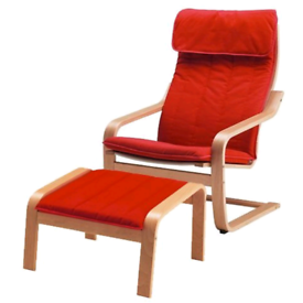 IKEA poang RED easy chair and footstool CAN DELIVER