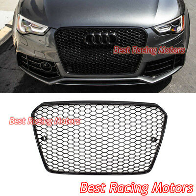 RS5 Style Front Grille (Gloss Black Frame + Mesh) Fits 13-17 Audi A5 S5 (Euro Lines)