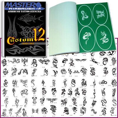 SET 12 BOOK 100 Reusable Airbrush Temporary Tattoo Stencil Art Designs Templates
