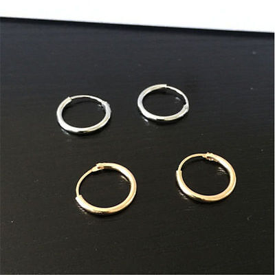 Hot Silver Gold Plated Small Endless Hoop Ear Earrings Circle Round Jewelry 12mm Small Ear Plate