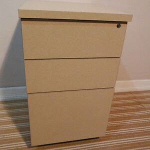 Locking 3 Drawer File and Storage Cabinet on Casters, Delivered