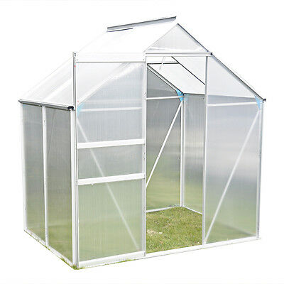 Panana 6x4 Aluminium Frame Polycarbonate Clip Greenhouse With Foundation Base