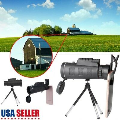 Monocular 40X60 Zoom Optical HD Lens Telescope + Tripod+ Clip For iPhone Samsung