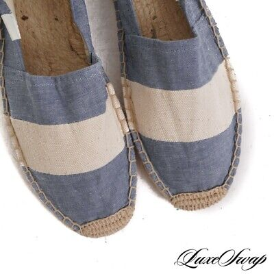 SUMMER ESSENTIAL Soludos Ivory Canvas Blue Chambray Espadrille Beach Shoes 8 NR