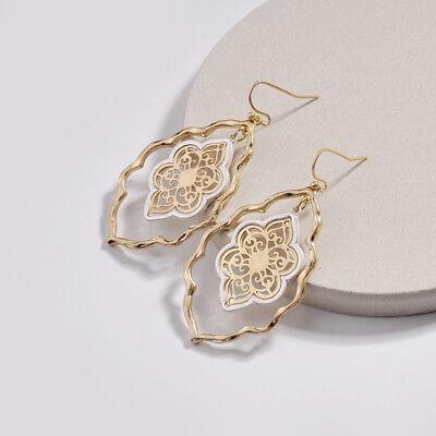 2018 New Two Tone Gold Filigree Teardrop Chandelier Earrings for Women Jewelry
